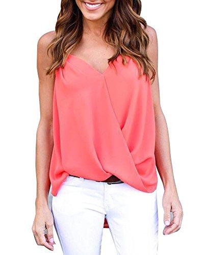 Donne Casuale V-Collo Senza Maniche Sciolto Bluse Camicie Canotte Top T-Shirt WmRosso