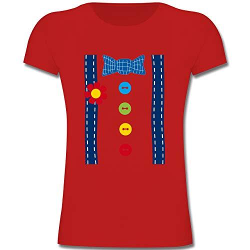 Teenager Für Kostüm Mädchen Clown - Karneval & Fasching Kinder - Clown Kostüm blau - 128 (7-8 Jahre) - Rot - F131K - Mädchen Kinder T-Shirt
