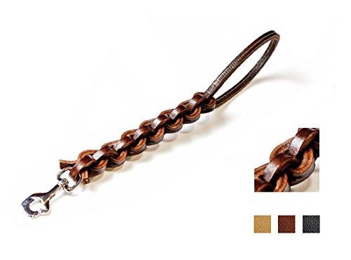 Eurocuoio Guinzaglio in cuoio a quadrupla treccia - Con moschettone, lungo 500 mm, in pelle di bufalo intrecciata (Naturale) - Collare K9 Pelle