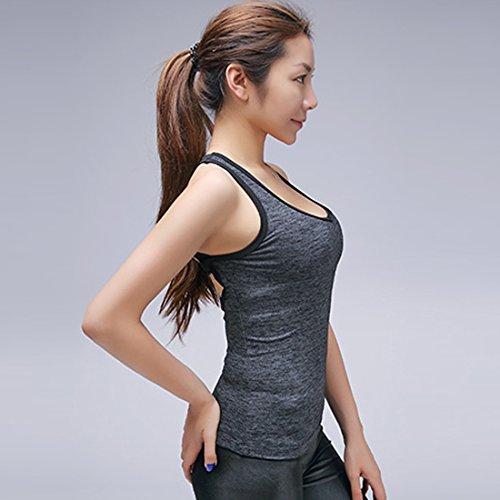 Vertvie Femme Slim Fit Débardeur T-Shirt Sport sans Manches avec Pad Lace Up Back Tank Tops Débardeur Casual Séchage Rapide Pour Yoga Fitness Jogging Noir