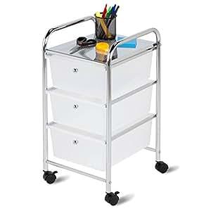 Honey Can Do CRT-02215 Chariot Classeur à 3 Tiroirs Acier Inoxydable Chrome Transparent 6,1 x 34,01 x 141 cm