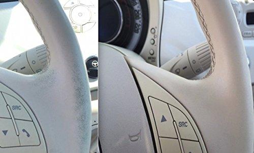Set zur Ausbesserung von Gebrauchsspuren am Leder Lack von Elfenbeifarbenen Lenkrädern aus Leder Kunstleder Lenkradfarbe in den Farbtönen Beige und Elfenbein 500 matt einfache Anwendung