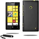 Ultra Slim Hybrid Hard Case Plastic Cover For Nokia Lumia 520 Free Screen Protector & Touchscreen Stylus Pen (Black)