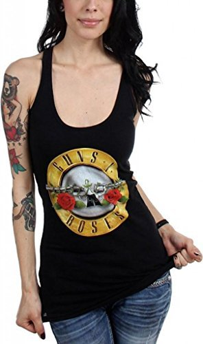 Ill Rock Merch Camiseta - Unisex de Color Negro de Talla Small - Guns N Roses Bullet Logo Racerback Da Donna Tank Top (Camiseta)