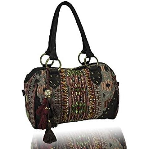 FERETI borse etniche in pelle ricamo perline tela e cuoio di cuoio extra lunga tracolla multicolore