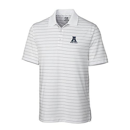 Ralph Lauren Streifen-shirt (Cutter & Buck NCAA Herren CB Dry Tec Franklin Stripe Polo, Herren, CB DrytecTM Franklin Stripe Polo, weiß, Small)