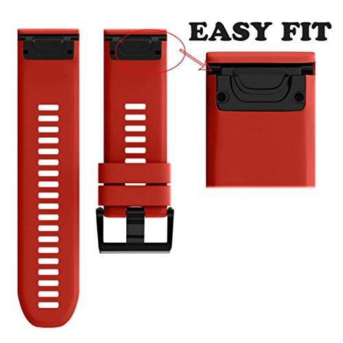 saihui Ersatz kieselgels Soft Quick Release Kit Band Gurt für Garmin Fenix 5x GPS-Uhr, rot Quick-release-gurt