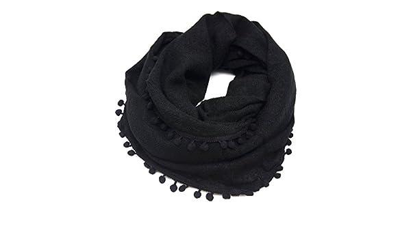 PSV38 - Echarpe Snood Tube Tour de Cou Automne Hiver Uni avec Contour  Pompons - Mode Femme (Noir)  Amazon.fr  Vêtements et accessoires c0818248a7d4