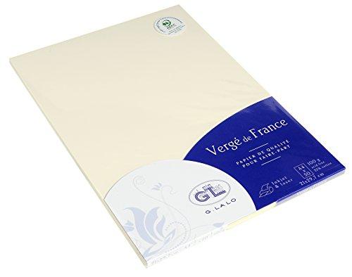 G.Lalo 47216L Papier Vergé de France (100 g, DIN A4, 21 x 29,7 cm, 50 Blatt, elfenbein)