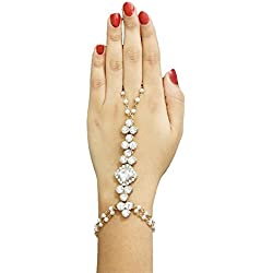JewelMaze White Gold Plated White Glass Stone Pearl Chain Bracelet For Women