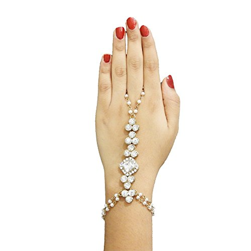 JewelMaze White Gold Plated White Glass Stone Pearl Chain Bracelet For Women