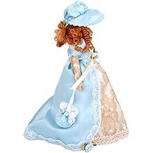 Dollhouse Bambole Di Porcellana In Miniatura Donna Vittoriana In Abito E Cappello Con Stand