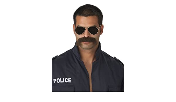 Black Seventies Tash 70s Handlebar Moustache Mexican Cop 60s Costume Accessories