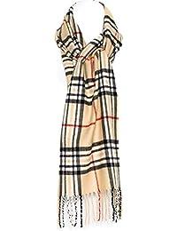 Sciarpa invernale Uomo Donna in Misto Lana fantasia a Quadri Scozzesi Beige 311f09b2659c