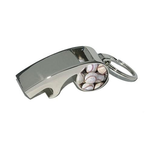 Baseballs - Baseball Balls - Plated Metal Whistle Bottle Opener Keychain Key Ring