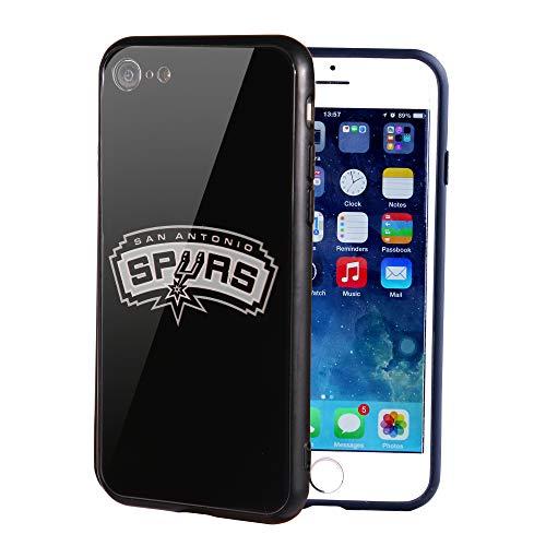 Die Masse iPhone 8Fall, iPhone 7Fall, NBA Team Logo auf gehärtetem Glas Backcover und Soft TPU Rahmen für Apple iPhone 8/7, 4.7 inch, San Antonio Spurs - Team-logo Iphone Fall