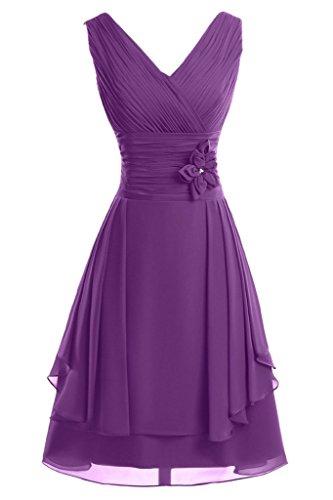 ivyd ressing Femme col V avec fleurs ligne A court Demoiselle d'Honneur Prom robe robe du soir Violet clair