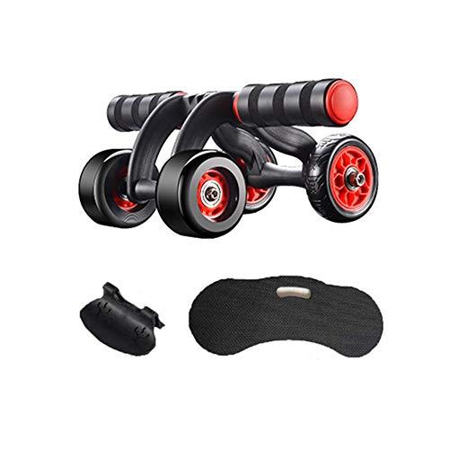 Rotella di Esercitazione Roller Addominale con Il Rilievo di Ginocchio E Pastiglie dei Freni, Rimbalzo Automatico A Quattro Ruote Mute Attrezzature per Il Fitness Ruota Allenamento Addominale Cas