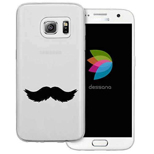 (dessana Mustache Transparente Schutzhülle Handy Case Cover Tasche für Samsung Galaxy S7 Walross Bart)