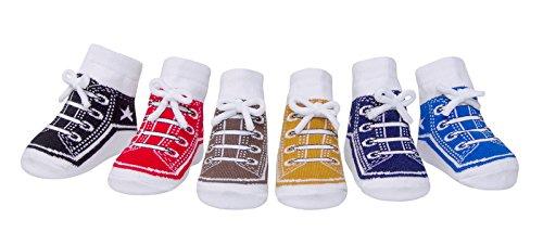 Baby Jungen Socken die wie Schuhe aussehen-6 Paar-Weicher Baumwolle - Anti-Rutsch - Geschenkverpackung (0-12 Monate, KOOL KIDS SOCKEN) -