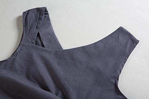 ZAMME Robe sans manches solide des années 1950 Style des femmes Gris