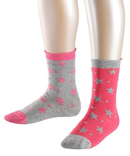 ESPRIT Kinder Socken Dots & Stars 2-Pack, Baumwollmischung, 2 Paar, Rosa (Pink 8589), Größe: 35-38