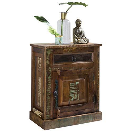 FineBuy Nachtkommode Delhi 55 X 35 X 70 Cm Mango Massiv Holz Mit Tür U0026  Schublade   Nachttisch Boxspringbett Dunkel   Nachtkästchen Nachtkasten  Schlafzimmer ...