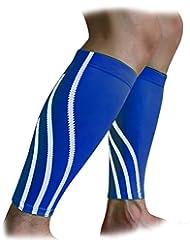 FakeFace Kompressionsstrümpfe Wadenschutz Wadenbandage Schienbeinschoner für Basketball, Laufen, Wandern, Radsport // 1 Paar (Schwarz/Blau)