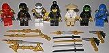 7X Lego Ninjago Figuren Alle 5 Ninja und Meister Wu und NYA ( Grüner Ninja Blauer Ninja Schwarzer Ninja Weisser Ninja und Roter Ninja ) und bmg2000 Aufkleber