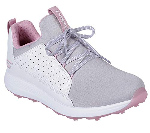 Skechers Golf 2019 Go Golf Max - Chaussures Mojo pour Femmes sans Crampons White/Grey/Pink 6UK