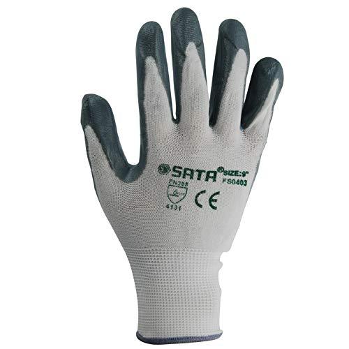 世达(SATA)FS0402 劳保手套丁腈耐磨掌浸胶涂胶涂层防滑手套舒适透气防尘作业手套8英寸 SATA FS0402 Labor Protection Glove NBR Wear-Resistant Palm-dip Adhesive Coating Slip-proof Glove Comfortable Air-permeable Dust-proof Work Glove 8 inche -