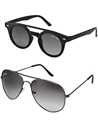 Silver Kartz Black & Black Dark Wayfarer And Aviator Combo Sunglasses
