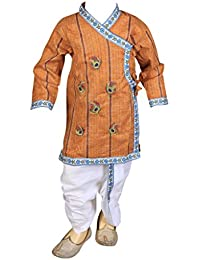 FOCIL Brown Peacock Feather Embroidery Red Kurta and Dhoti Pant Set For Kids