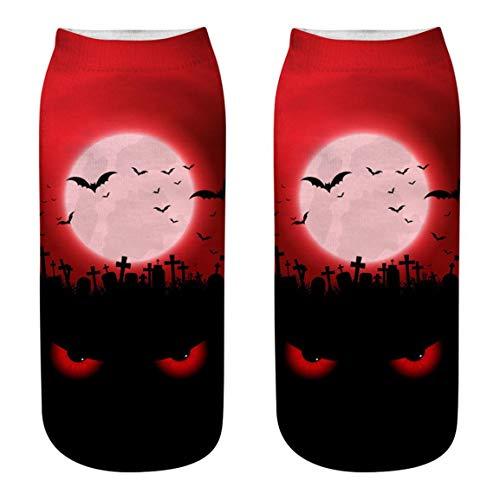 Moonuy 1 STÜCK Nette Socken Halloween Casual Business Socken 3D Halloween Kürbis Freie Größe Vintage Druck Medium Sport Socken (Machen Sie Einen Halloween-kürbis Letzte)