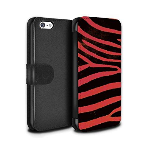Stuff4 Coque/Etui/Housse Cuir PU Case/Cover pour Apple iPhone 5C / Bleu Design / Zèbre animale Peau/Motif Collection Rouge