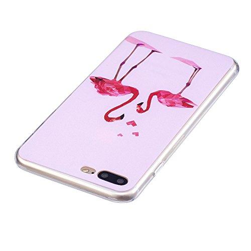 Cover per iPhone 8 Plus / iPhone 7 Plus Silicone Case , YIGA Moda Piume viola Cristallo Trasparente Cover Cassa Silicone Morbido TPU Case Caso Shell Protettiva Custodia per Apple iPhone 8 Plus / iPhon FD60
