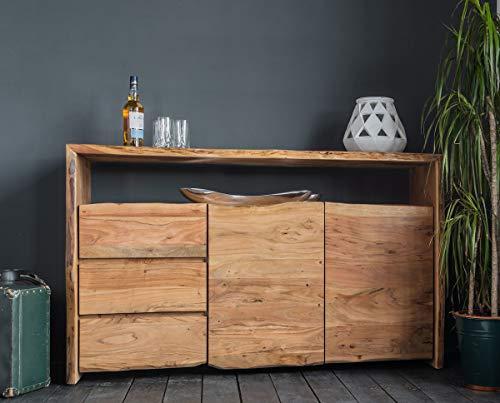 KAWOLA Sideboard Live Edge Akazie Massiv-Holz Baumkante B/H/T: 148x90x40cm