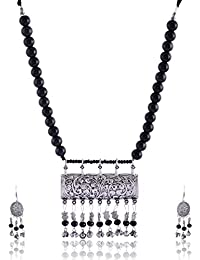 RAI COLLECTION Black Silver Strand Necklace Set For Women (RAI069)