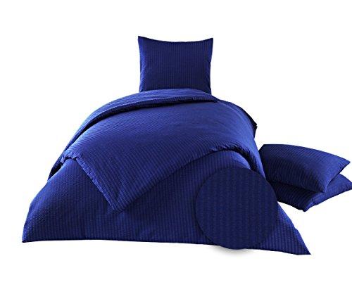 elit Home-Collection 2 tlg. Seersucker Bettwäsche 100% Baumwolle Sommer Bettgarnitur Pflegeleicht Bügelfrei Gereppte Oberfläche (Navy, 135 x 200 cm) Navy Seersucker