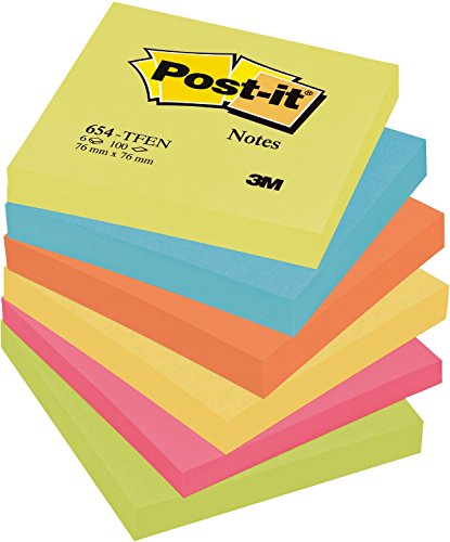 3X Post-it Colour Notes, Energy, 76mm x 76mm (654-TFEN) - 1 pack of 6 pads, 100 sheets per pad
