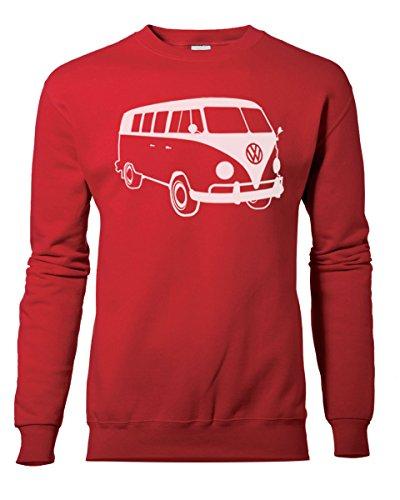 Fashion Review Veste rétro camping-car Volkswagen VW Camper Van Sweat Pull de XS à XXL Rouge - Rouge