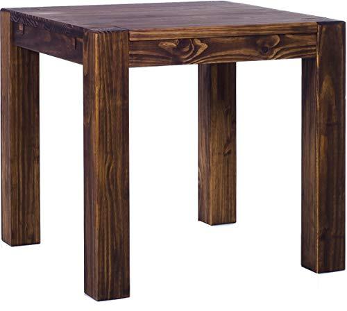 Brasilmöbel® Esstisch Rio Kanto 90x90x78 cm Eiche antik - Holz Tisch Pinie Esszimmertisch Küchentisch - vorgerichtet für Ansteckplatten - ausziehbar