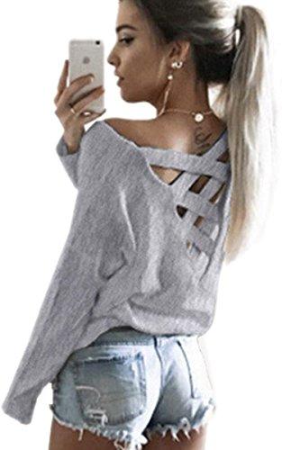Ecowish V Ausschnitt Oberteile Damen Kreuz Langarmshirts Tops Hemd Shirt - Grau - EU XL
