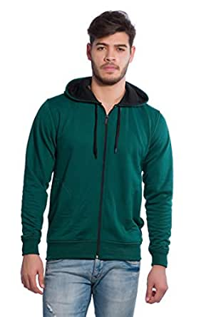 Alan Jones Clothing Men's Cotton Hooded Sweatshirt (Green, Small)