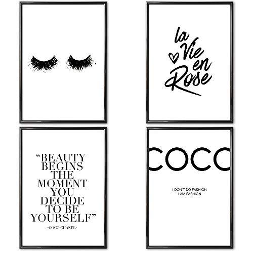 Große AUSWAHL an 4er Poster Set's in DIN A4 z.B. Coco Chanel | MIT & OHNE Rahmen | Schöne Sprüche...