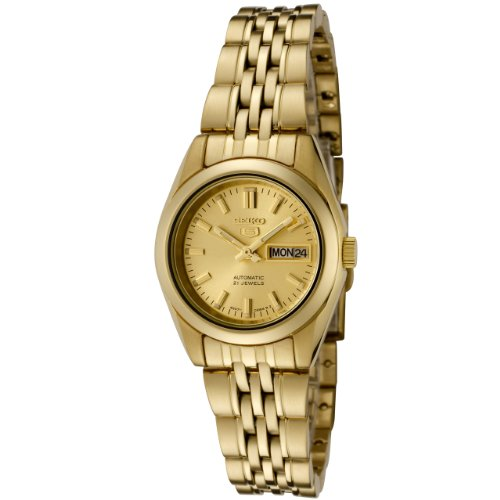 Seiko Women's SYMA38K Seiko 5 Automatic Gold Dial Gold-Tone Stainless Steel Watch