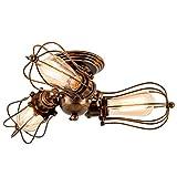 Deckenlampe Vintage, 3 Licht Retro Industrial Pendelleuchte Metall Verstellbar Öl eingerieben Bronze Hängelampe für Landhaus Schlafzimmer Wohnzimmer Esstisch(Glühbirne Nicht Enthalten)