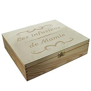 Boîte à thé 12 compartiments gravée d'un motif arabesque et d'un texte