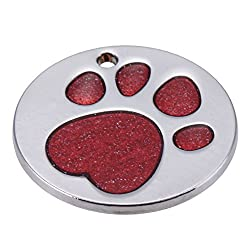 Rrimin Pet Cat Dog ID Tags Customized Personalized Round Feet Shaped Alloy Dog Tag (Red)