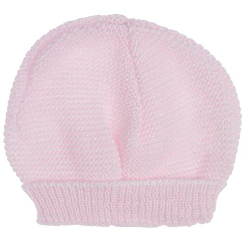 Bonnet de naissance bébé en tricot rose lay